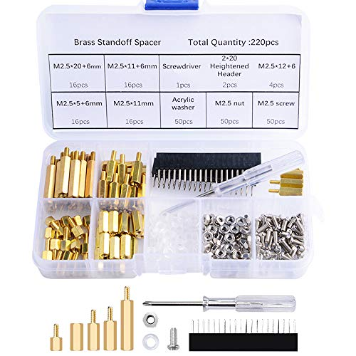 GeeekPi 220PCS M2.5 Brass Spacer Standoffs Hex Column Male-Female Screw Nut Assortment with Storage Case for Raspberry Pi, with Acrylic Washer Screwdriver