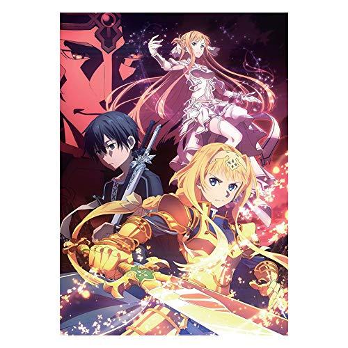 lunanana Sword Art Online Poster - Anime SAO Rollbild/Kakemono Wall Scroll Dekorative Wandbild Stoff Poster Hängendes Plakat, 42x29cm