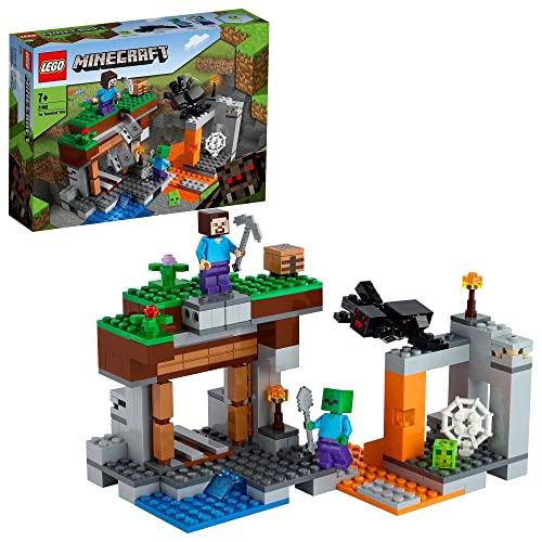LEGO Minecraft 21166 Opuszczona kopalnia z jaskiniowym zombie, figurkami postaci z gry Minecraft i zabawkowym pająkiem (248 elementów)