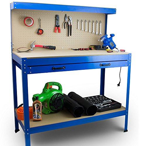 BITUXX Werktisch Werkbank Arbeitstisch Arbeitsplatte Lochwand Schublade Werkstatt 115 x 55 x 140 cm Blau