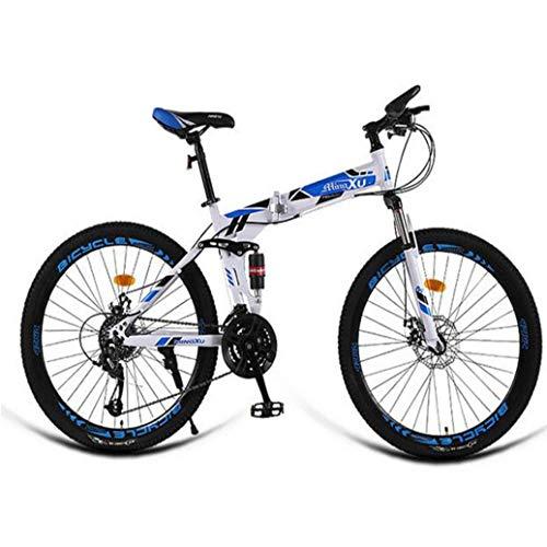 RPOLY 24 Velocidad Bicicleta de Montaña Plegable, Doble Freno de Disco, Adulto Bici Plegable, Variable Fuera de la Carretera Bicicleta Velocidad, Bicicleta,Blue_26 Inch