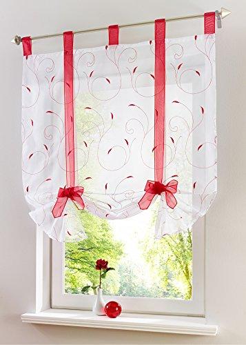 Yaland Voile Besticktes Raffrollo Romantische Bindegardine mit filigraner Stickerei Küchen Gardinen Wohnzimmer Gardinenschals (BxH 100x140cm, rot) 1 Stück