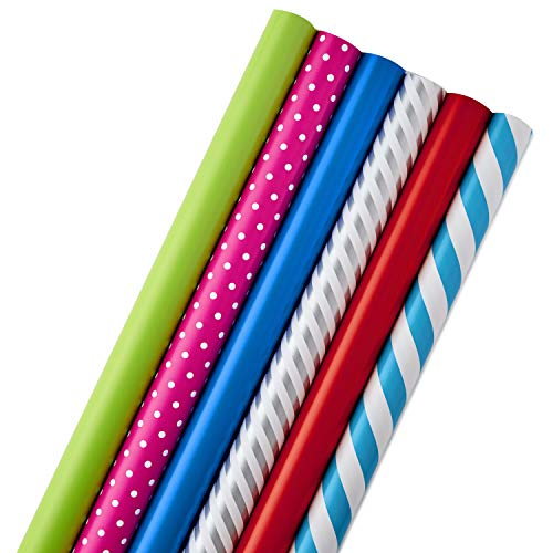 Hallmark All Occasion Wrapping Paper Bundle with Cut Lines on Reverse, Polka Dots & Stripes—Birthday,…