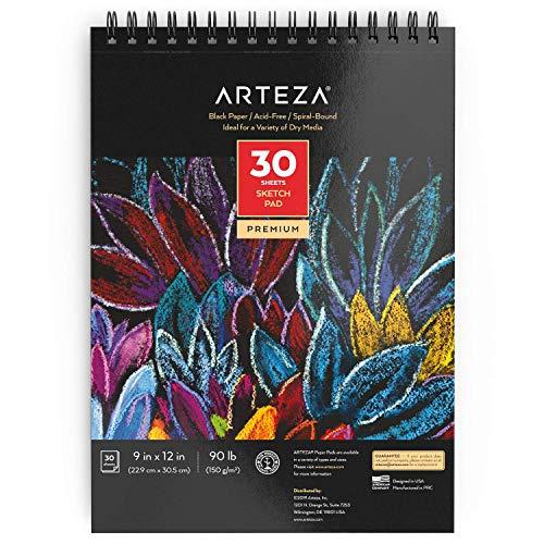 Arteza Blocs de dibujo de papel negro de 22,9 cm x 30,5 cm (9x12 pulgadas), Pack de 2 blocs de 30 hojas, Encuadernados en espiral, Papel de 150 gsm, Para lápices, pastel, óleo, gel, tiza y tinta