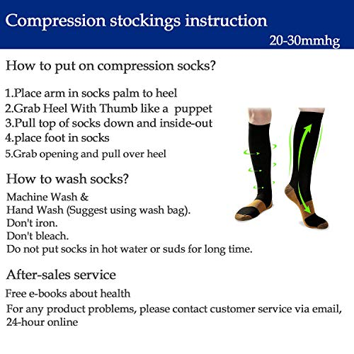 Graduated Medical Copper Compression Socks for Men & Women 8 Pairs -20-30 mmHg is Best for Running,Athletic,and Travel(Large-X-Large)