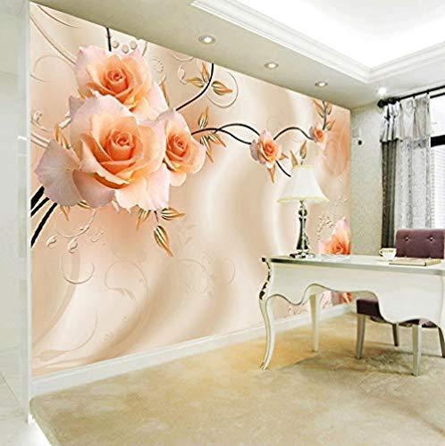 Mssdebz Aangepaste 3D Zijde Sjaal Bloemen Fotobehang Bloemen Rose Mural voor Tv Bank Achtergrond Woonkamer Slaapkamer Eenvoudige Home Decor 140cmx100cm