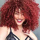Short Curly Wigs for Black Women -Burgundy Synthetic...