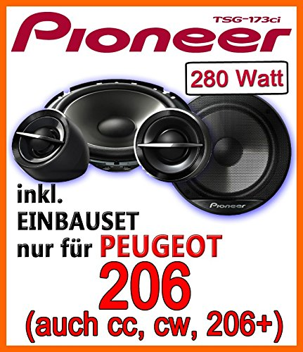 Pioneer TS-G173Ci - 16cm Lautsprecher Einbauset für Peugeot 206, 206cc, 206sw, 206+ - JUST SOUND best choice for caraudio