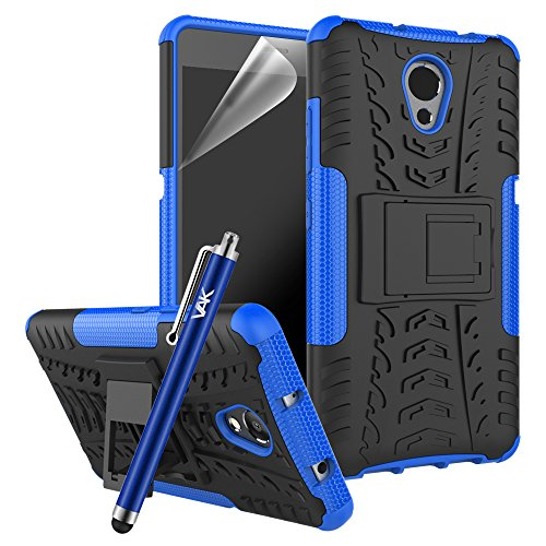 Lenovo P2 Case - Heavy Duty Armour Tough ShockProof [Stand View] Builder Hard Back Case Cover with Screen Protector, Microfibre Polishing Cloth and Touch Stylus (Blue)