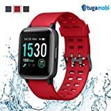 tugamobi Smart Band SB501 - Fitness Tracker, Touch Screen,Tracker with Heart Rate Monitor,5 ATM Waterproof Smart Fitness Band with Step Tracker,Calorie Counter,Alarm Clock,14 Modes (Red)