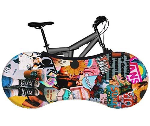 Jersey Bike Shop Bike Wheel Cover Anti-dust Washable Elastic Bicycle Wheel Cover Indoor Bike Cover Bike Indoor Storage Bag Anti-Scratch Gear Wheel Tire Package for MTB and Road Bike (Mixtape)