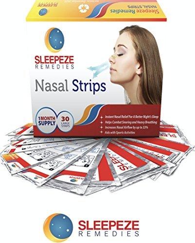 Nasenpflaster Groß x30 | Sleepeze Remedies® Nasenstrips stoppen das Schnarchen und helfen Ihnen durch die Nase zu atmen | Premium Qualität Schnarchstopper die nasale Stauungen unterstützen