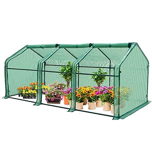 EAGLE PEAK Garden Portable Tunnel Greenhouse 95'' x 36'' x 36'' with Large Zipper Door for Indoor Or...