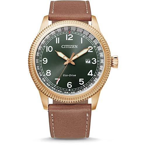 Citizen Herren Analog Eco-Drive Uhr mit Leder Armband BM7483-15X