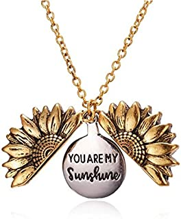 Sunflower Pendant Necklace for Women You are my Sunshine Pendant Chain Locket Female Jewelry Girlfriend Birthday Valentine...