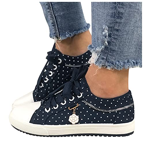 BIBOKAOKE Zapatillas de deporte para mujer, con diseño de lunares, con cordones, para el tiempo libre, para mujer, para niña, planas, para verano, caminar, ligeras, de tela