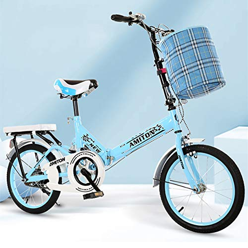 Faltrad Für 135-175cm Menschen,Mit Verstellbarem Lenker & Warenkorb & Vorder- Und Hinterradbremsen Fahrrad,20 Zoll Dämpfung Faltbares Fahrrad-Blau 20 Inch