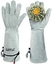 SUNYPLAY Gardening Gloves for Women/Men , Thorn Proof Garden Work Gloves with Long Heavy Duty Gauntlet, Cowhide Leather Gloves for Thorny Bushes Cacti Rose(Grey, Medium)
