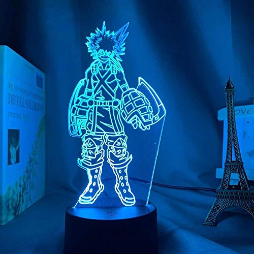 BTEVX Lámpara de escritorio 3D Illusion Night Light Katsuki Bakugo Figure Kids Room Nightlight Room Lighting Anime My Hero Academia Gift Lámpara de escritorio – 16 colores con mando a distancia