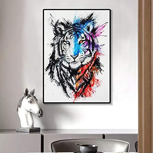 BuhuAZXM canvas schilderkunst aquarel tijger dier poster afdrukken foto's decoratief schilderij muurkunst voor woonkamer 30x40cm Geen frame.
