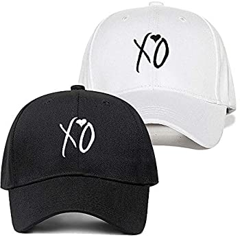 Weytff Baseball Cap & Snapback Funny Dad Hat Love Xo Couple Hat Black and White Unisex Women Men Couple Cotton Embroidery Design Sport Hat