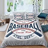 Homewish Sports Themed Bedding Set 3pcs for Kids Boys Teens Vintage Sports Baseball Comforter Cover Soft Polyester Duvet Cover Set with Zipper Ties (1 Duvet Cover + 2 Pillow Cases),Queen Size