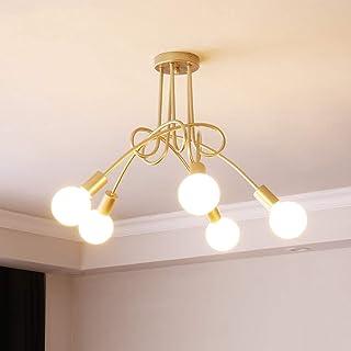 Moderna lámpara de techo Creative Luz de Colgante Ajustable DIY con 5 Brazos de Araña para Bombilla E27 para Comedor Hotel Etc (Dorado)