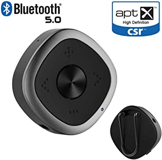 5.0 Bluetooth Transmitter Sender Receiver 2 in 1 Wireless Bluetooth Adapter 3.5 mm Audio Adapter aptX HD 2 Connections for...