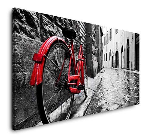 Paul Sinus Art Retro Fahrrad in Alter Stadt 120x 60cm Panorama Leinwand Bild XXL Format Wandbilder Wohnzimmer Wohnung Deko Kunstdrucke