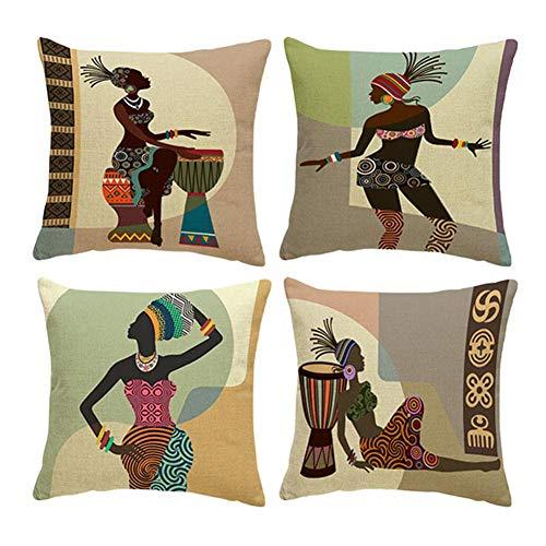 Phononey 137/5000 4 Stücke Kissenbezug Ethnischen Stil Afrikanischen Frauen gedruckt Baumwolle und leinen Kissen Kissenbezug Sofa Schlafzimmer Kissenbezug 45 * 45 cm