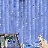Guirnalda de luces de cortina blancas, 3 x 3 m, 300 ledes, alimentado por USB, 8 modos de iluminación, impermeable, luz de hadas, cortina, luces LED, luces de cascada (blanco)