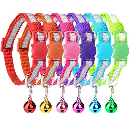 6 Pcs Reflective Cat Collars with Bell 8'-10'...