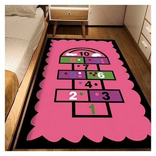 LIPENG Habitación para niños Sofá geométrico Moderno Manta de café Manta de Dibujos Animados Patrón de Dibujos Animados Nordic Simple Dormitorio Hogar Impresión Sala de Estar Alfombra