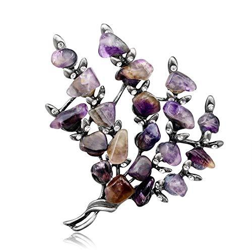 Broche retro de plata de cristal para mujer, diseño floral, para fiesta, bufanda, alfiler de solapa con piedra de amatista morada (color de gema: plata envejecida)