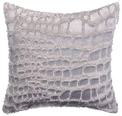 Brandsseller - Cojín de visón, imitación de piel, cojín decorativo, cojín de sofá, muy suave y agradable, en diferentes diseños (40 x 40 cm, diseño 2, color antracita)