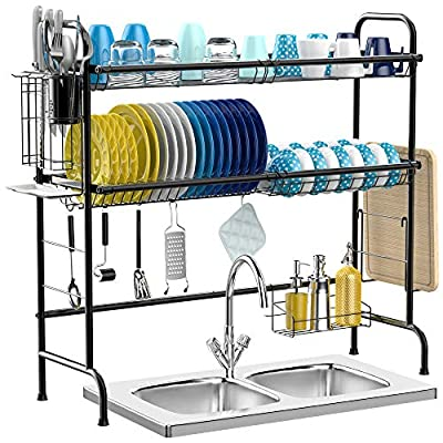 Over the Sink Dish Drying Rack, iSPECLE 2-Tier Premium 201 Stainless Steel Large Dish Rack with Utensil Holder Hooks Stable Bend Foot for Kitchen Countertop Space Saver Non-Slip Black from