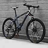 Bicicleta De Montaña, Bici De Montaña Completa De La Suspensión, Adulto 26' Bicicleta De Acero Marco, 21/24/27/30 Velocidad Completo Bicicleta Dual Disco Freno MTB,C,27 Speed