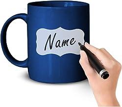 اكواب قهوة يمكنك الكتابة عليها بيدك «اسمك او اي شيء تريده»، كاس شاي سيراميك ناعم سعة كبيرة مع مقبض للمكتب والمنزل