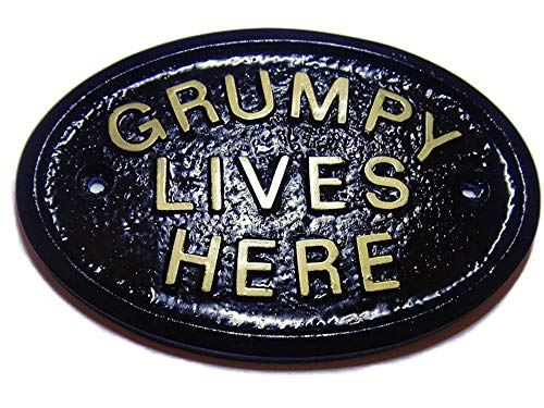 Artisan GRUMPY LIVES HERE WORKSHOP DOOR/HOUSE SIGN PLAQUE BLACK WITH GOLD RAISED LETTERING