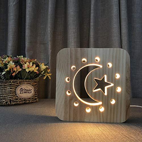 3D träledd nattlampa usb ihåligt snidat bord skrivbord sänglampa Moon Star barn sänggavel hem sovrum vardagsrum dekoration