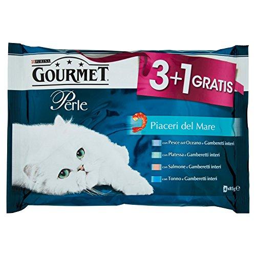 Purina Gourmet Perle - Alimento Completo para Gatos Adultos, placeres del mar, 4 x 85 g