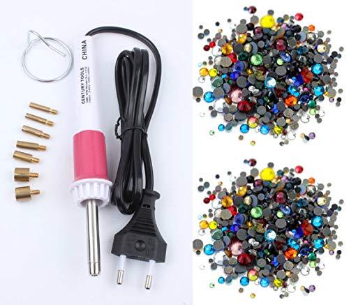 BrillaBenny Kit de decoración: aplicador de estrás caliente + cristales termoadhesivos mixtos de 5 mm + 4 mm Hotfix para manualidades, ropa, zapatos, patinaje y baile (aplicador + 3000 brillantes)