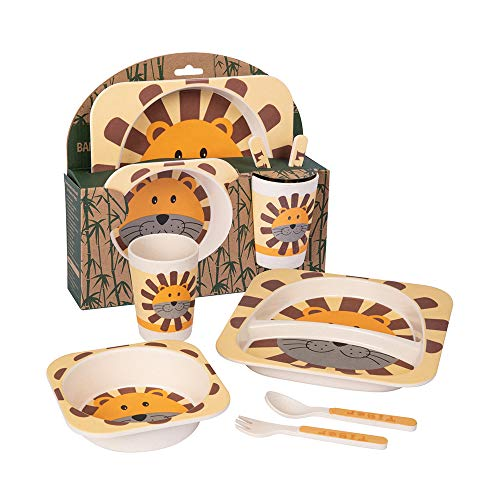 Karabu Set Pappa in Bamboo 5 Pezzi Leone