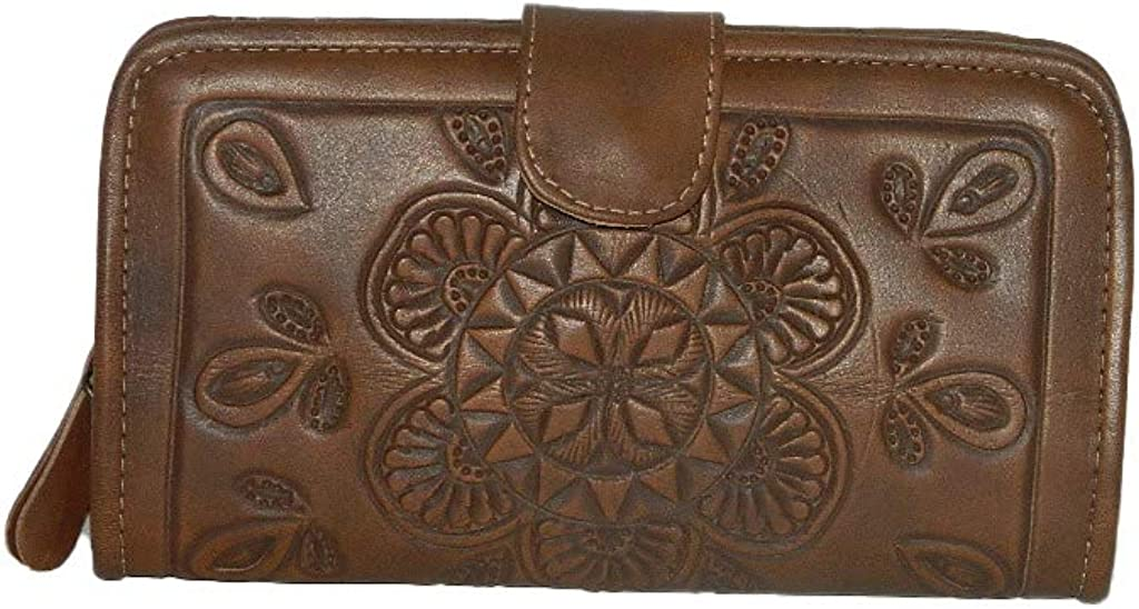 Ladies Handtooled Geniune Leather Trifold New popularity Billfold Philadelphia Mall Wallet C for