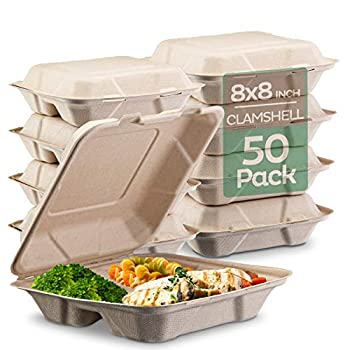 100% Compostable Clamshell Take Out Food Containers [8X8  3-Compartment 50-Pack] Heavy-Duty Quality to go Containers Natural Disposable Bagasse Eco-Friendly Biodegradable Made of Sugar Cane Fibers