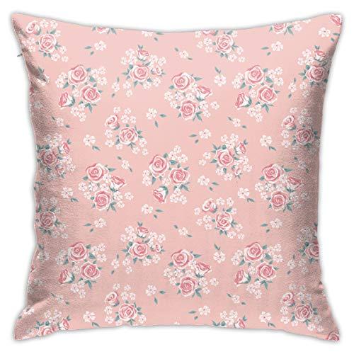 Moshow Fundas de almohada decorativas Rosa Rosa Dibujos Animados Geométricos Retro en el Sofá Cama Coche 45X45CM