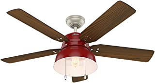 Hunter Indoor / Outdoor Ceiling Fan with light and pull chain control - Mill Valley 52 inch, Red, 59309