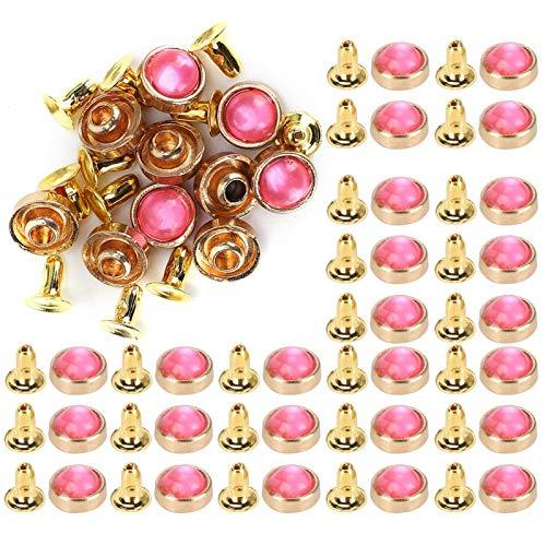 Tachuelas de remache de turquesa Color brillante Durable Remaches de turquesa resistentes para bolsos de mano Zapatos de artesanía de cuero(Pink)