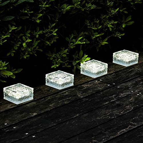Solar Garden Lights Outdoor Decorative Glass Brick Ice Cube LED Light for Pathway Driveway Lanscape product image