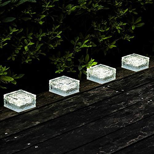 Solar Garden Lights Outdoor Decorative - Glass Brick Ice Cube LED Light for Pathway, Driveway, Lanscape, Backyard, Patio (Cool White)